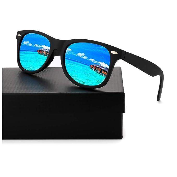 Gafas De Sol Polarizadas Espejo Hombre & Mujer Retro Vintage Super Ligero Marco -100%