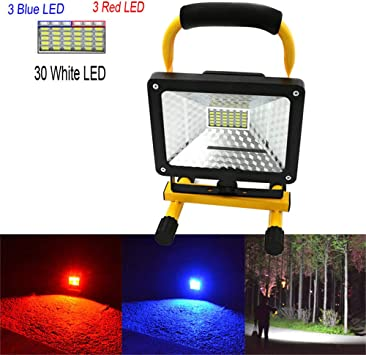 Portable Rechargeable Battery LED Work Light Red Blue Strobe Floodlight Charger