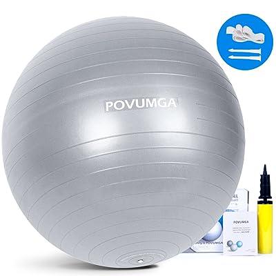 Boule d'exercice 55cm 65cm 75cm pour fitness gym Yoga Core stabilité équilibre Pregancy accouchement d'exercice anticrevaison en PVC avec pompe Povumga
