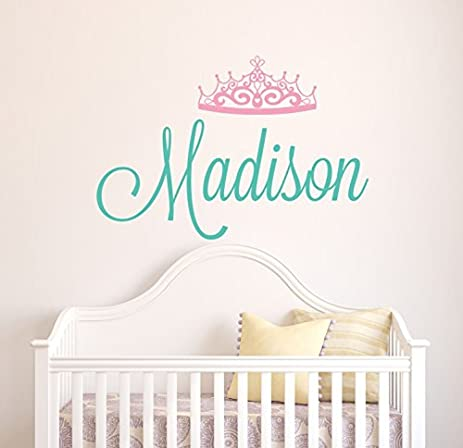 Wall decal letters custom tiara name wall decal baby girl room decor nursery wall