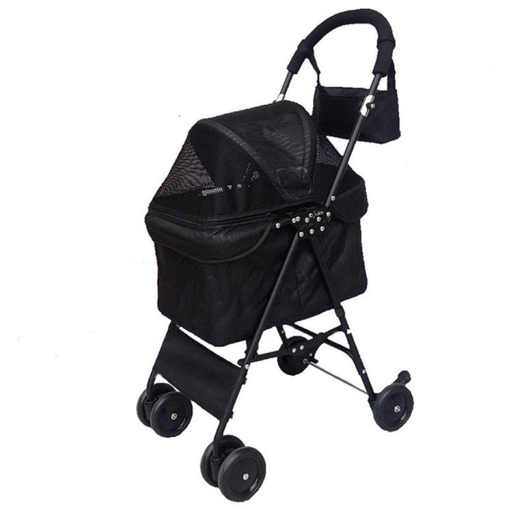 Black EDYUCGA Pet Stroller Cat Stroller Four-wheel Pet Vehicle Portable Pet Stroller,Black
