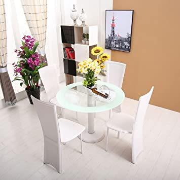 Schindora Round Glass Dining Table Set With 4 Chairs Amazonco