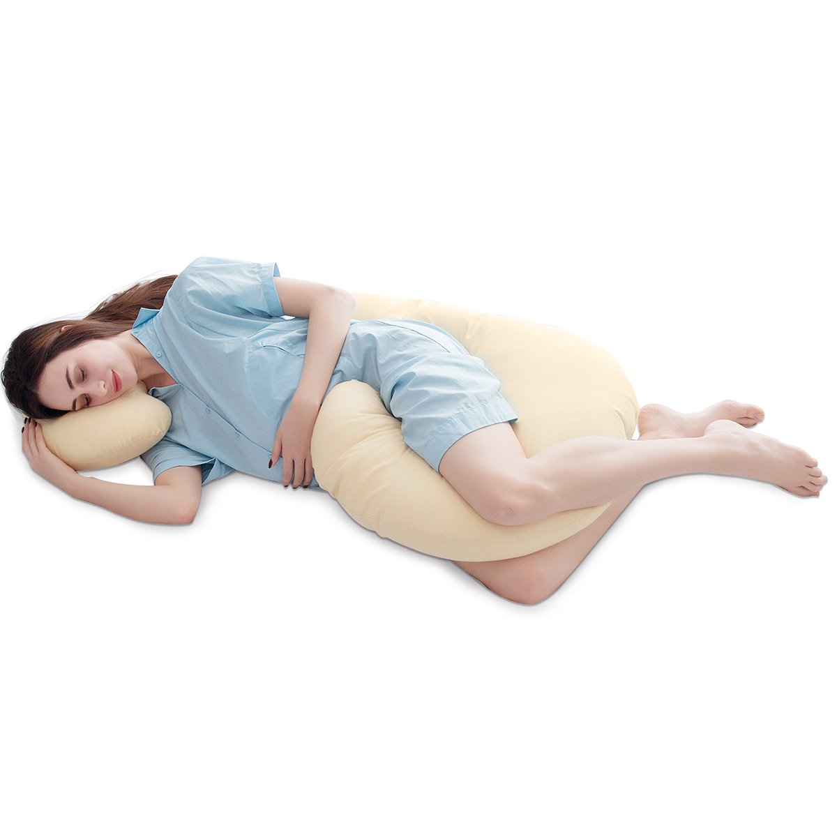 "PUREDOWN C Shaped Maternity/Pregnancy Contoured Body Pillow with Zippered Cover, 27"" x 56"", Beige"