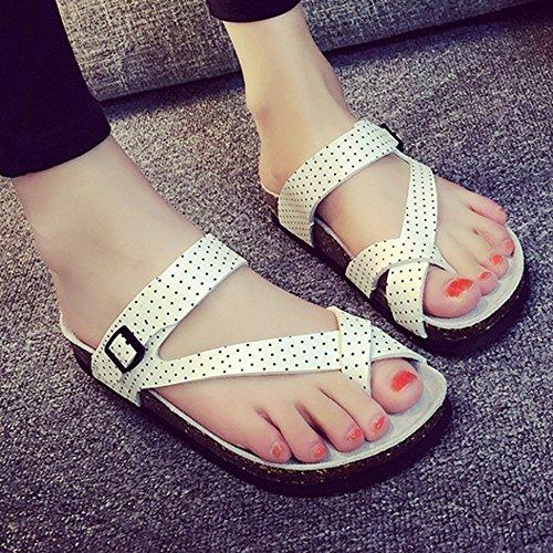 ZHANGRONG À PU D'été taille Couleur Blanc Femmes Ouvert Bout Sandales CN41 Sandales UK7 EU40 Blanc Chaussures rwT4gxr