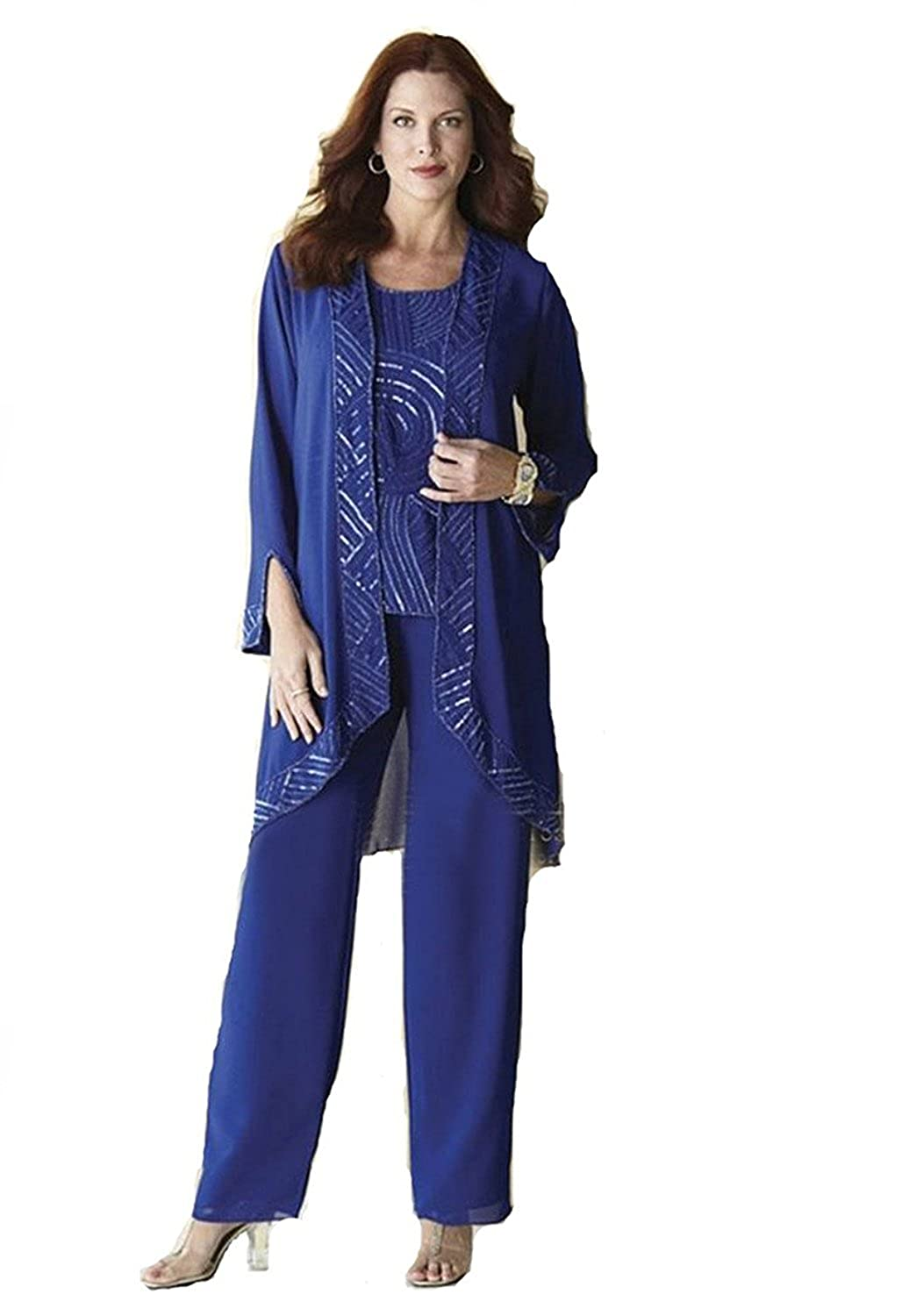 Fenghuavip Long Sleeves Chiffon Blue Mother of Brides Suits 3 Pieces