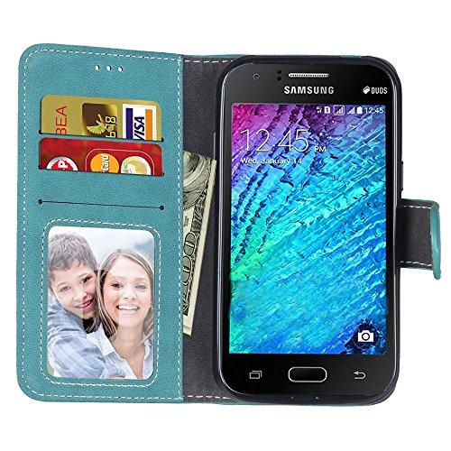 YHUISEN Estilo retro de color sólido Premium PU cuero Wallet caso Flip Folio cubierta protectora de la caja con ranura para tarjeta / Stand para Samsung Galaxy J1 2015 J100 ( Color : Rose ) Blue
