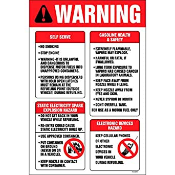 "Amazon.com: Decals (Pack of 5) - Gas Pump Warning (6"" x 4"