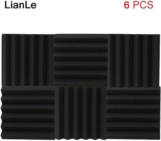nouvelle arrivée site professionnel meilleur site web 6 pcs 30*30 cm Panneaux de mousse acoustique Isolation phonique Lianle,  noir, A