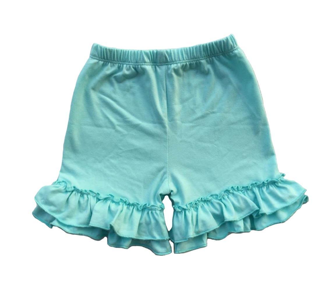 Coralup Baby & Little Girls Ruffles Cotton Shorts P6088_Mint(XXL,5-6Y)