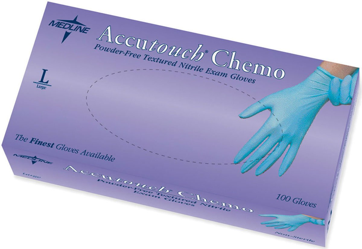 Medline MDS192086 Accutouch Chemo Nitrile Exam Gloves, Latex Free, 9'' Length, Large, Blue (Pack of 1000) by Medline