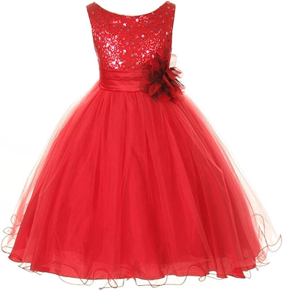 Kids Dream Little Girls Red Sequin Bodice Floral Overlaid Flower Girl Dress  4-4