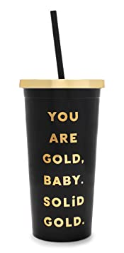 Ban.Do Sayings Insulated Deluxe Sip Sip Tumbler With Reusable Silicone Straw, 20oz (You Are Solid Gold) by Bando