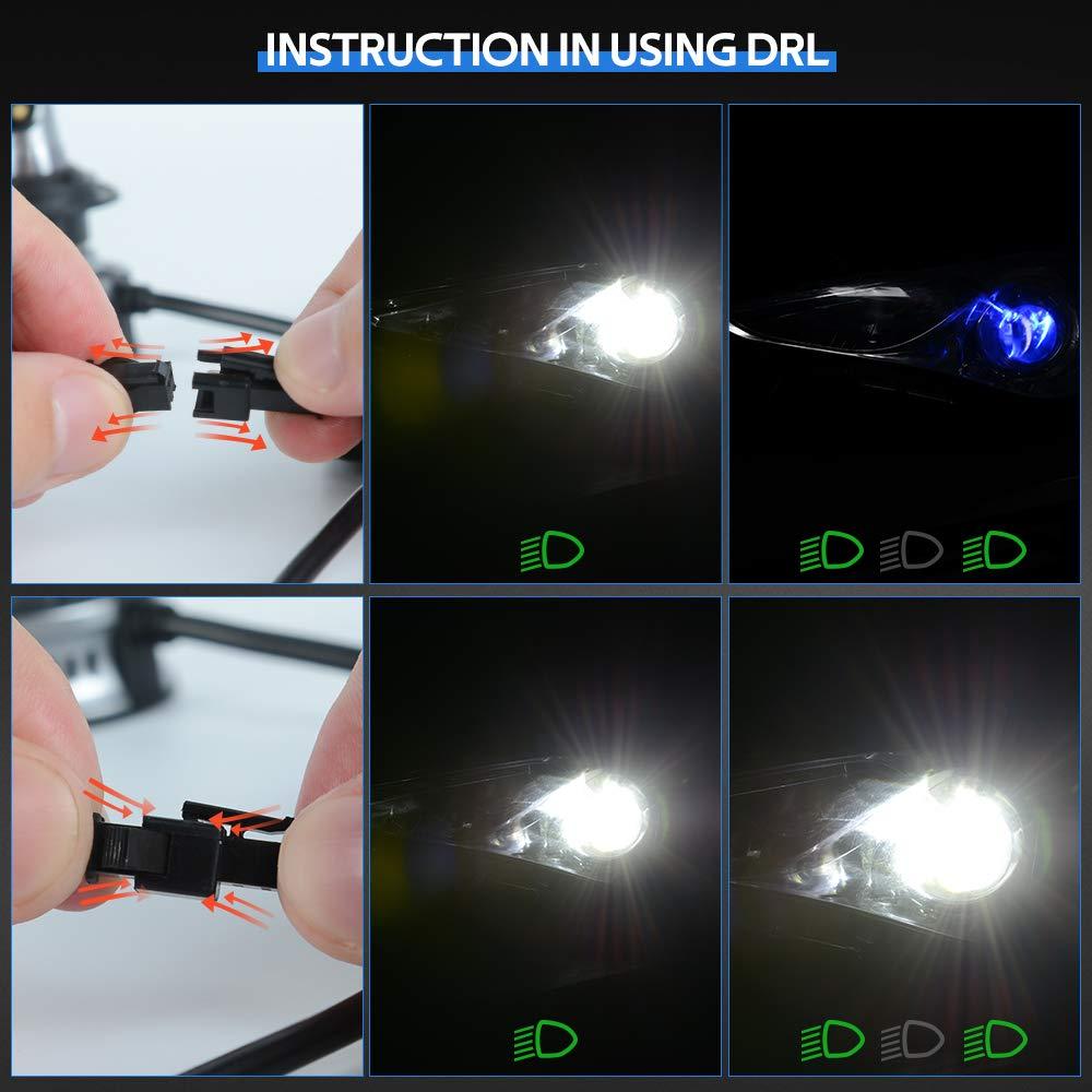 12000LM 6000K 12V H7 LED Bombillas con Blanco Luces de Circulaci/ón Diurna