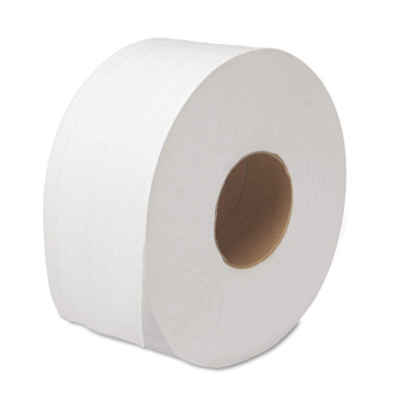 12 Rolls//Carton 2-Ply 1000 Ft//roll White Jumbo Boardwalk 6100 JRT Bath Tissue