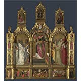 Oil painting 'Giovanni dal Ponte Ascension of John the Evangelist Altarpiece ' printing on Perfect effect canvas , 30 x 33 inch / 76 x 83 cm ,the best dining Room artwork and Home artwork and Gifts is this High Resolution Art Decorative Prints on Canvas