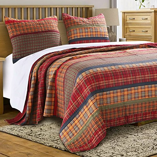 Quilt Set Twin Single (Finely Stitched Quilt Set with Sham Print Stripe Plaid Pattern Bedding Dark Yellow Gold Red Luxury Reversible Bedspread Single Twin Size - Includes Bed Sheet Straps)