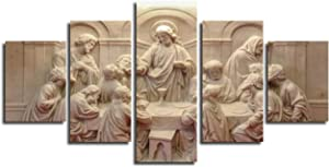 Last Supper Wall Decor Small 5 Piece Canvas Prints Poster House Decoration Wall Picture Framed Art Paintings Ultima Cena Sculpture Artwork Bedroom Kitchen Gallery-Wrapped Ready to Hang(50''Wx26''H)