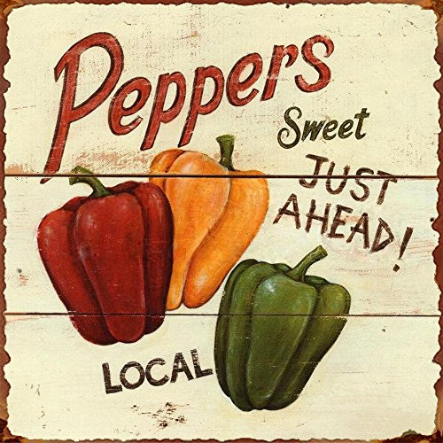 Barnyard Designs Sweet Peppers Ahead Retro Vintage Tin Sign