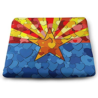 Alongwz Flag of Arizona Heart Seat Cushion Comfort Square Thicken Elastic Chair Cushion Pillow for Office Home Decor Car 13.7x14.9inch: Home & Kitchen