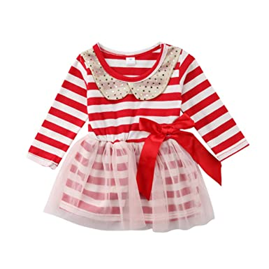 7e80ccab80e4 xiaodriceee Toddler Girl Christmas Outfits One Piece Long Sleeve Sequin  Striped Dress Skirts Clothes (1