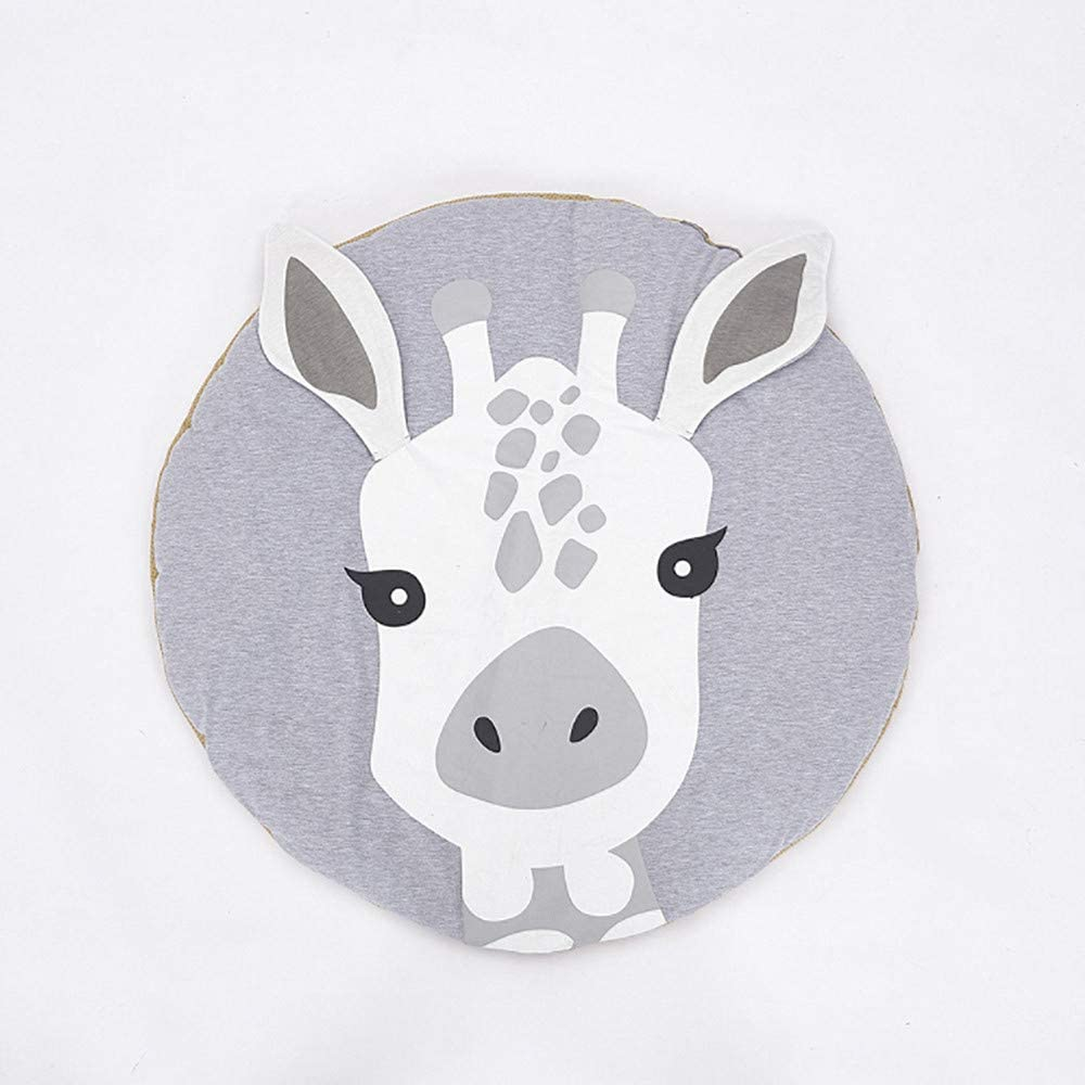 Poowe Round Giraffe Rug Carpet Cotton for Baby Floor Play mats Nursery Kids Room Decoration 35.4 inches