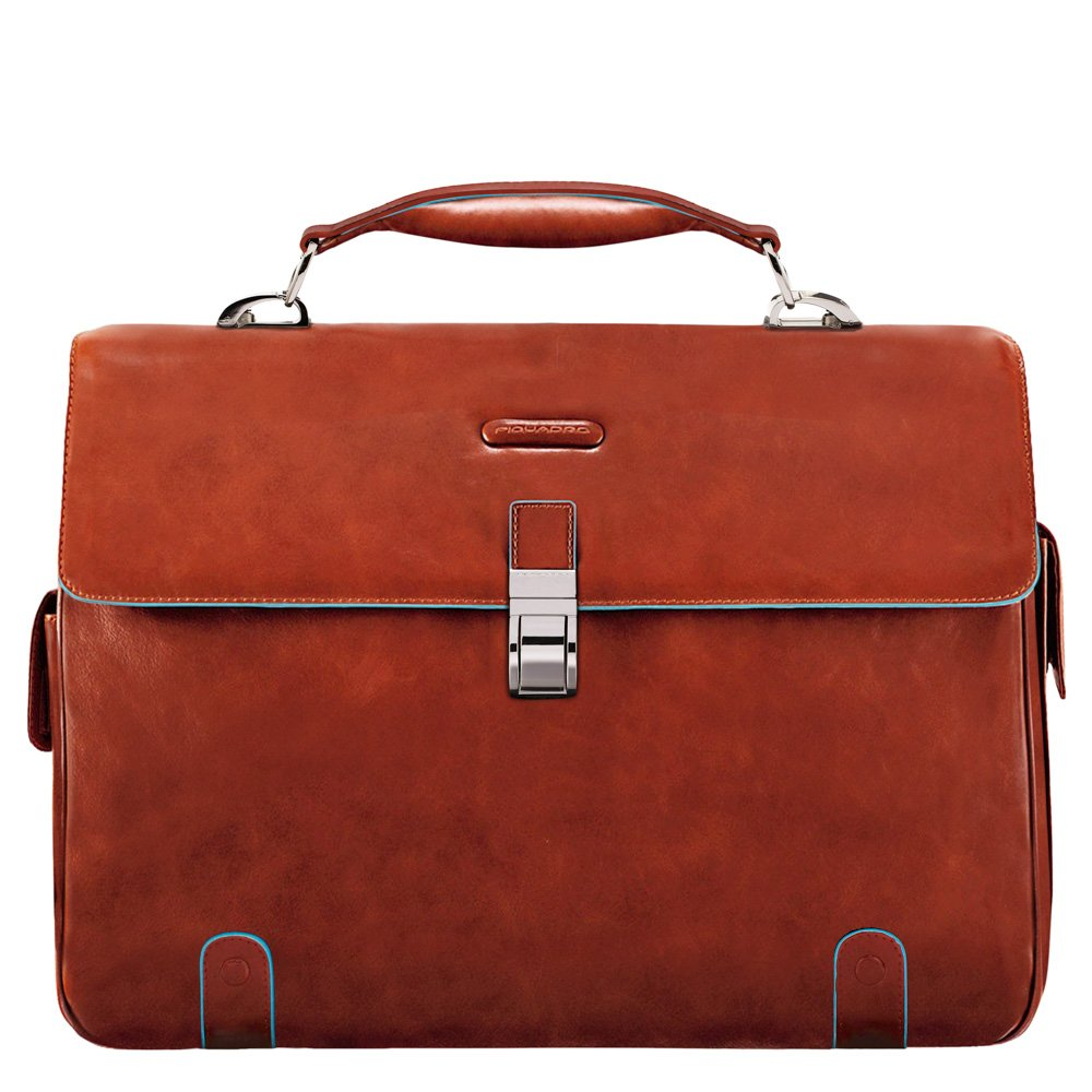 Piquadro Brief Case with 2 Gussets in L Eather Mahogany
