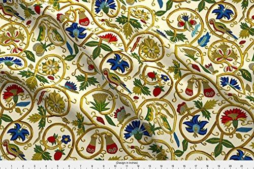 Bird Fabric - Bird Swirl Goldwork Flower Floral Elizabethan Embroidery - by Bonnie Phantasm Printed on Eco Canvas Fabric by The Yard