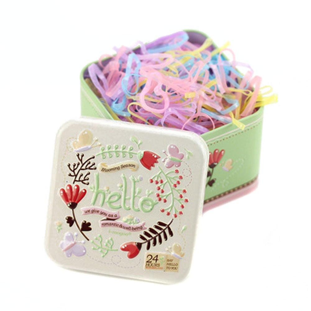 1 Boîte (700pcs) jetable Cheveux Queue de cheval Supports Elastiques élastique Cheveux Cravate élastiques en caoutchouc avec jolie boîte d'étain pour bébé enfants filles