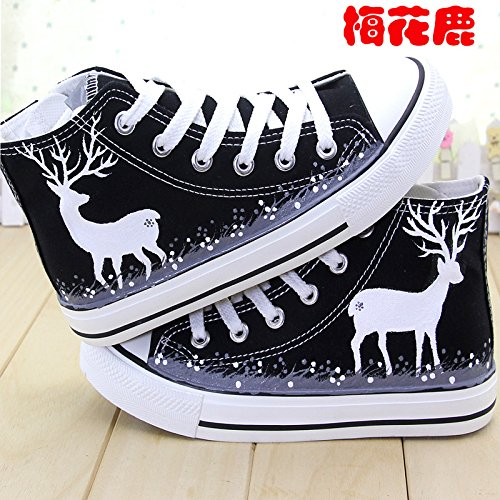 GUNAINDMXHand-Painted Shoes/High Canvas Shoes/Shoes/Help/Spring/Fresh/Shoes/Shoes/Shoes/Cashmere Thickening Shoes Black Sika Deer