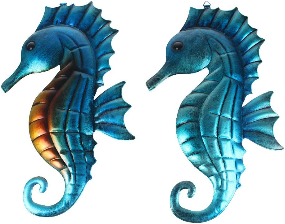 """2 Packed Metal Seahorse Wall Art Decor Hanging Vivid Colorful Hippocampus Nautical Theme Garden Decorations Outdoor Or Indoor 13""""x 8"""""""