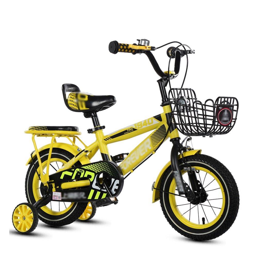少年少女の自転車2歳から10歳の赤ちゃんのキャリッジ小学校の自転車のペダル14 16 18インチ青黄色の赤 B07DWKHV2L 14 inch|イエロー いえろ゜ イエロー いえろ゜ 14 inch