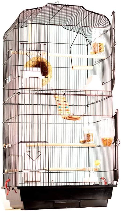 Birdcage, familiares interior Birdhouse loro Lovebirds reproductoras enjauladas Negro Blanco jaula del animal doméstico Colgante jaula de pájaro versión de lujo for mascotas jaula de pájaro Soportes p
