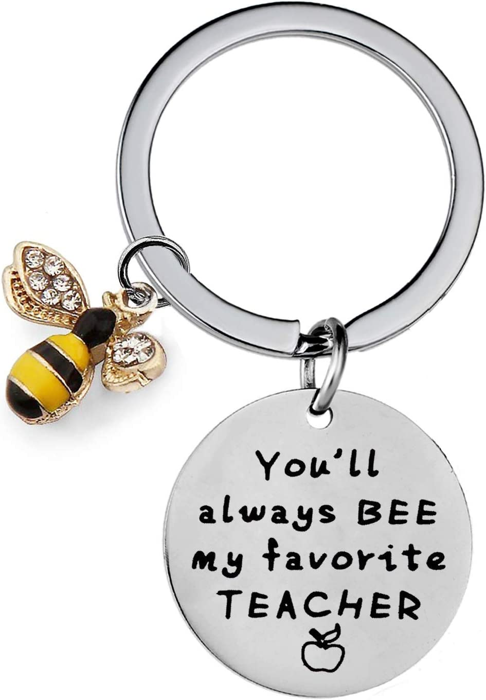 Teacher Gifts from Kids You Will Always Bee My Favorite Teacher Keyring Teacher Appreciation Keychain (Favorite Teacher)