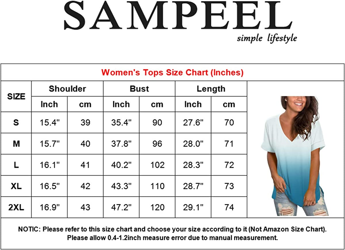 SAMPEEL Womens V Neck T Shirt Rolled Sleeve Side Split Tunic Tops