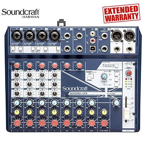 Soundcraft Notepad-12FX Small-Format Analog Mixing Console with USB I/O and Lexicon Effects - Includes -1-Year Extended Warranty