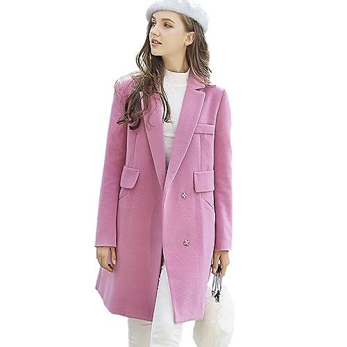 YAANCUN Mujer Diseño De Botón De Una Fila Nuevo En La Sección Larga Color Sólido Abrigo De Lana