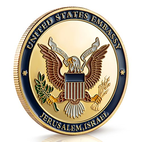 Large Product Image of Jerusalem United States Embassy Coin - Dedicated May 14, 2018 Jerusalem Israel - Commemorate This Important Event with This Stunning Collectible Coin