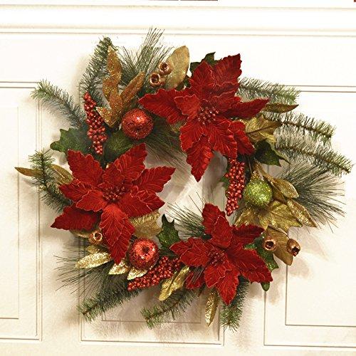 Elegant poinsettia christmas wreath cr1547 for 5ft poinsettia garland christmas decoration