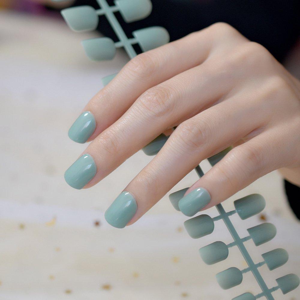 Amazon.com : 24pcs Flat Top Blue Grey False Nails Candy Pure Color ...