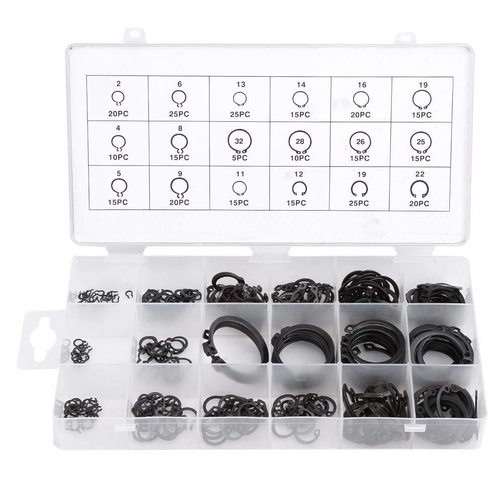 300Pcs E-Clip Snap Circlip Kit de 2 mm a 32 mm de retenci/ón a presi/ón para la retenci/ón de cojinetes Poleas de engranajes