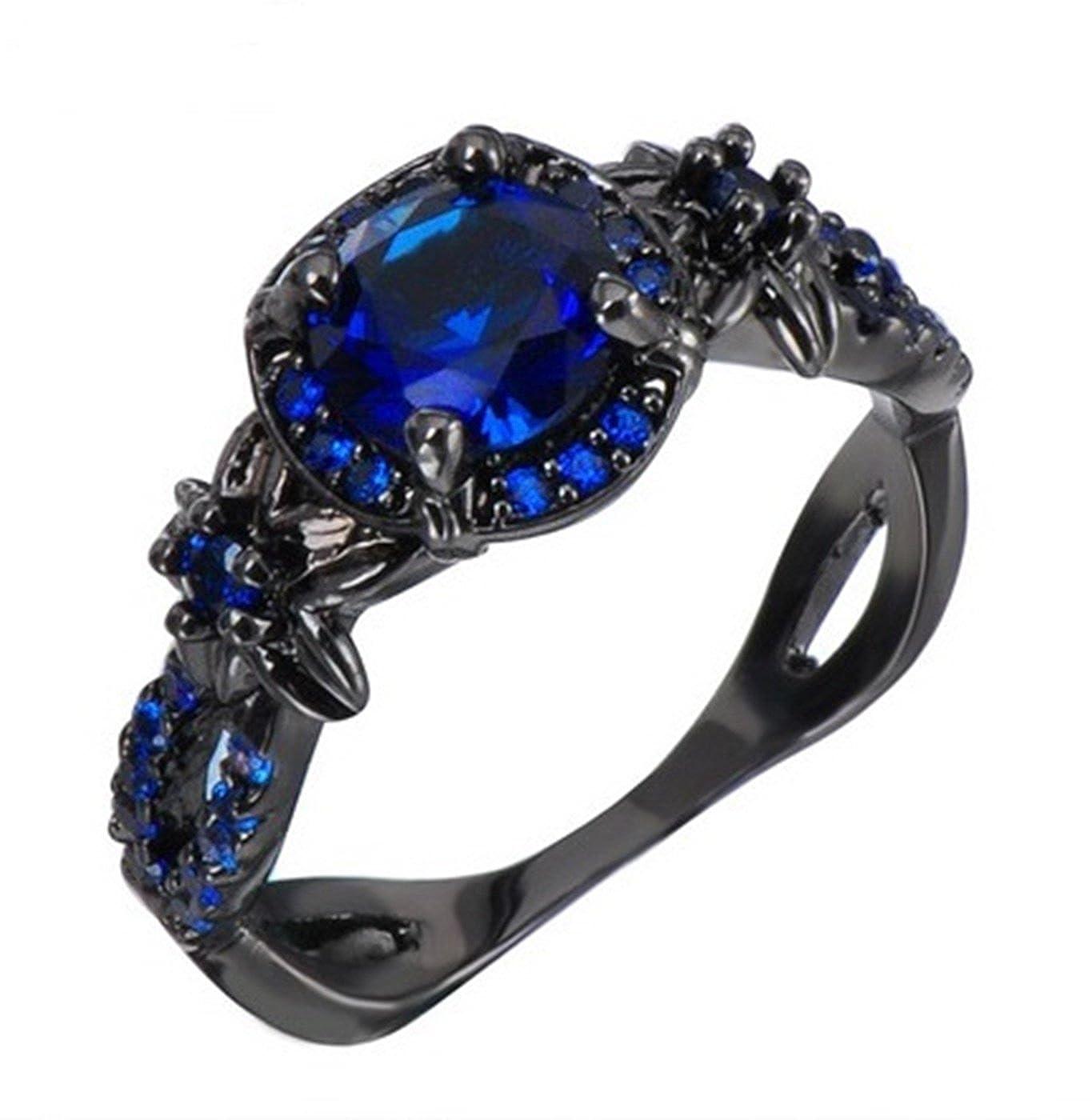 Fortonatori Blue Sapphire Ring Black Gold Filled Plated Flower Engagement Promise Vintage CZ