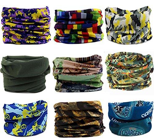 KINGREE 9PCS Headbands, Outdoor Multifunctional Headwear, Sports Magic Scarf, High Elastic Headband with UV Resistance, Athletic Headwrap, Mens Sweatband, Womens Hairband (Bright Camouflage)