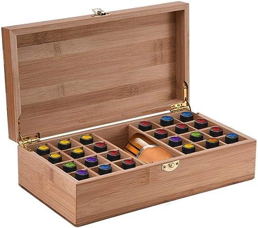 Skitior Apilable Caja de Aceite Esencial de bambú con 25 Rejillas DIY Caja Protectora de Almacenamiento de Madera for Adornos artísticos Regalo Decorativo 27.5158cm Tapa: Amazon.es: Hogar