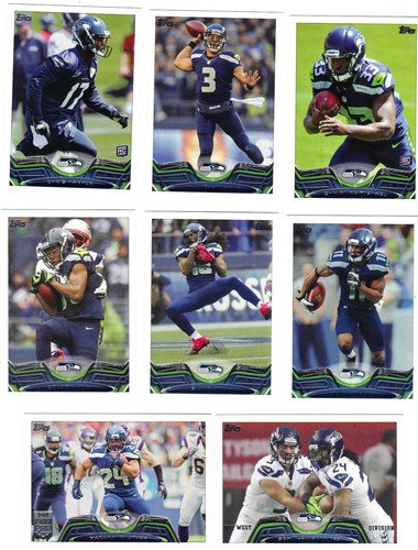 (2013 Topps Football Seattle Seahawks Team Set In a Protective Case - 19 cards including Wilson, Turbin, Harvin, Christine Michael RC, Harper RC, Lynch, Rice, Thomas, Tate, Wagner, Clemons, Chancellor, Browner, Max Unger, Avril, Irwin, Miller, Sherman, and a Team Leader Card)