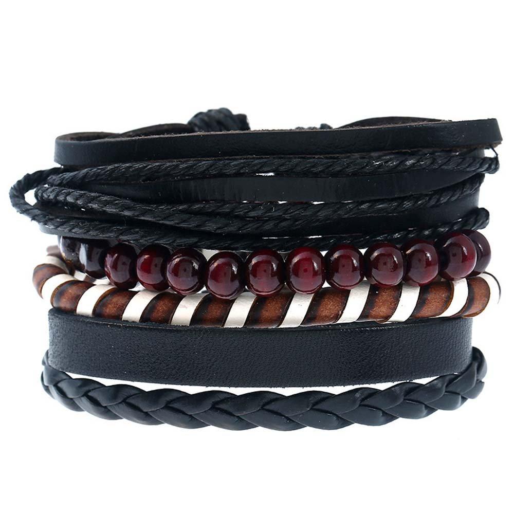 Loweryeah 1Set Retro Unisex Multilayer Pu Leather Straps/Wooden Beads Wrist Bracelet Women (Black)
