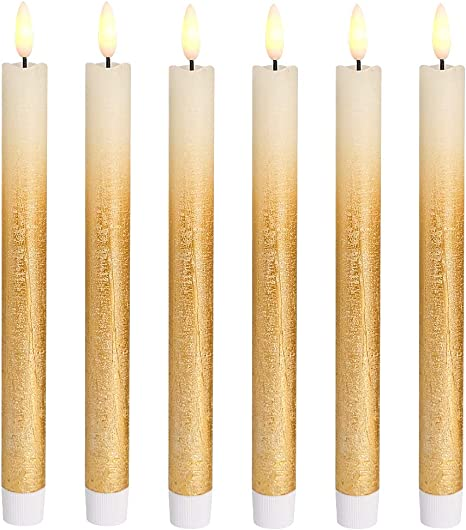 Eldnacele Set Of 6 Flameless Flickering Candles LED Window Taper With Gold Timer