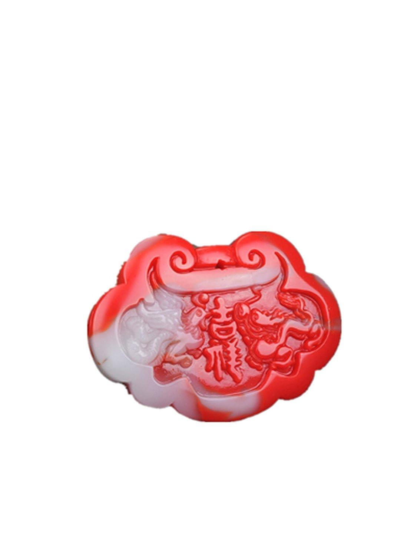 yigedan Natural Chicken Blood Jade Lucky Lock Pendant Necklace