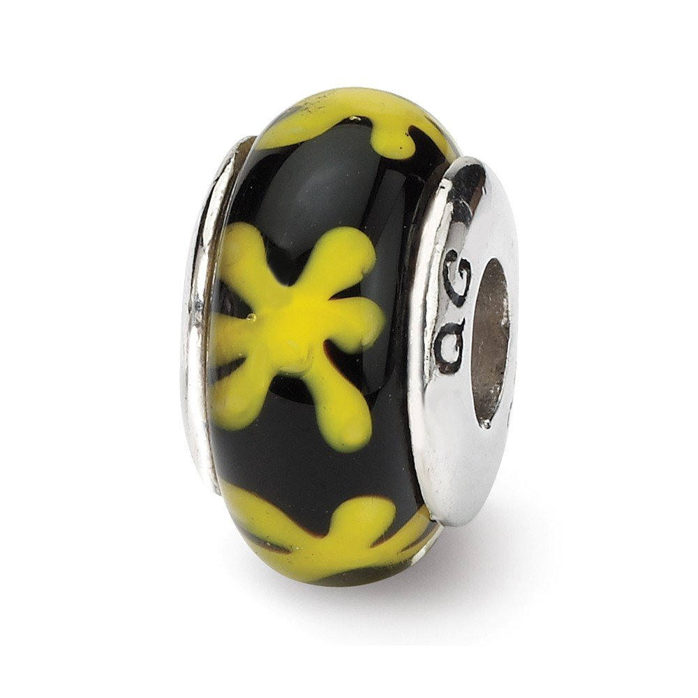 15 x 8 mm Reflection Beads Sterling Silver Yellow with Black Hand-blown Glass Bead