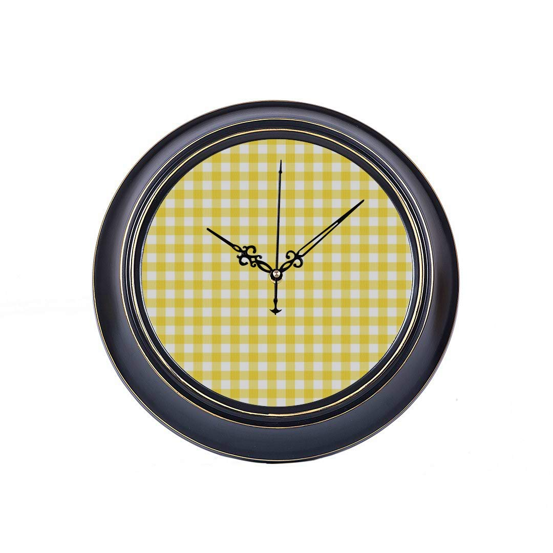 WUwuWU 14 Inch Large Silent Non Ticking Wall Clock Pastel Yellow Gingham Fabric That Printing Round Metal Clock Wall Decor Quality Quartz Battery Operated Quiet Clock for Home Office School Bedroom by WUwuWU