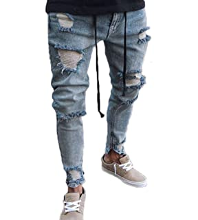 d017944c2f3 Nansiche Mens Slim Fit Shredded Denim Trousers Casual Skinny Hole Jeans  Pants